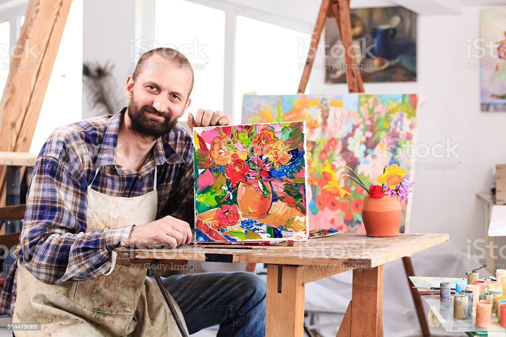 Fine art painer and his artefacts stock photo