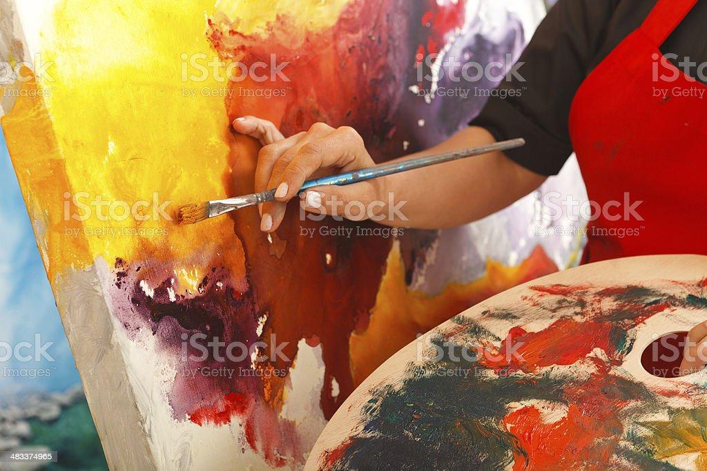 Fine art painter stock photo