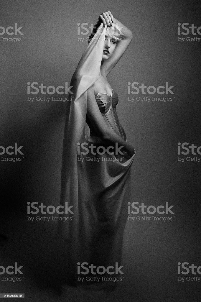 Fine art portrait of a beautiful woman wearing corset stock photo