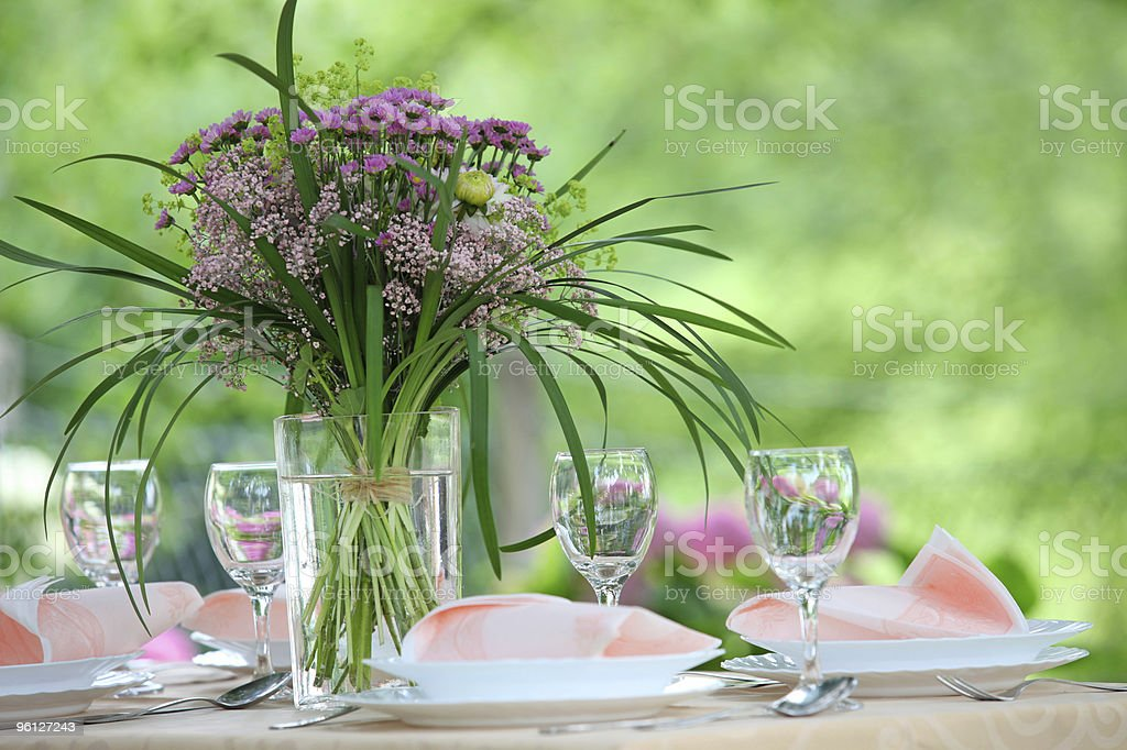 Fine Banquet Table Setting With Bouquet royalty-free stock photo