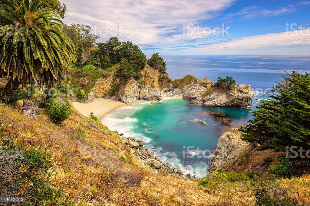Fine Beach and Falls, Pacific coast, California stock photo