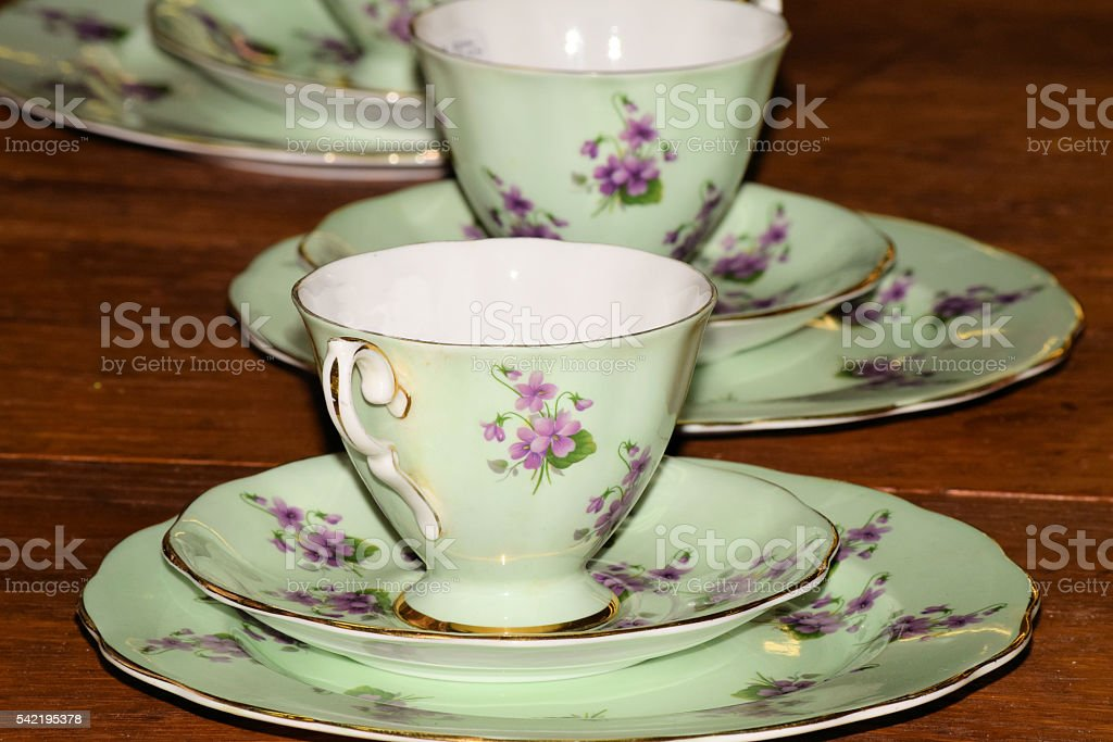 Fine China cup and saucers stock photo