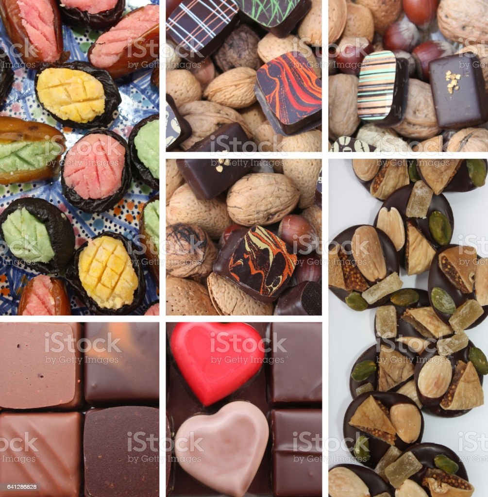Chocolats fins - Friandises - dattes - Pruneau - Fruits fourrés stock photo