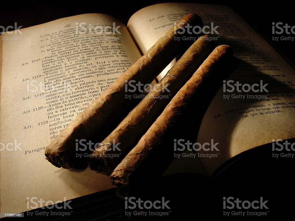 Fine cigars & books royalty-free stock photo