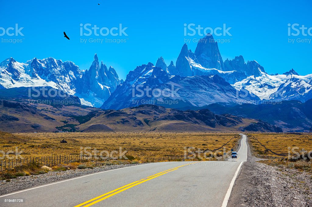 Fine concrete highway to Mount Fitz Roy stock photo