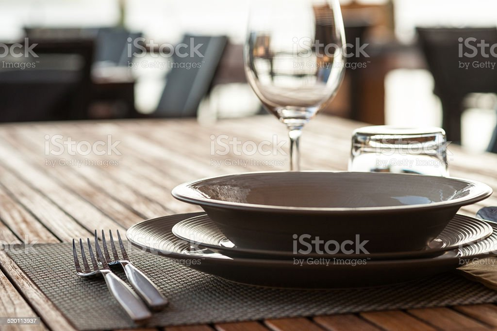 Fine Crystal Table Setting at a Restaurant. stock photo