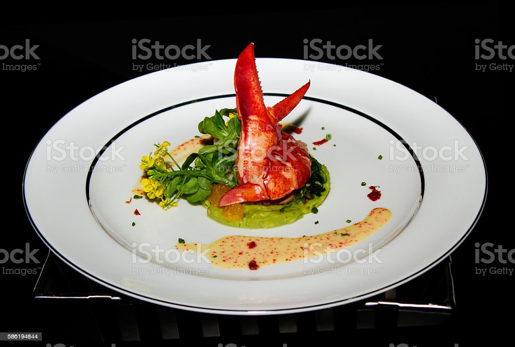 Fine cuisine table stock photo