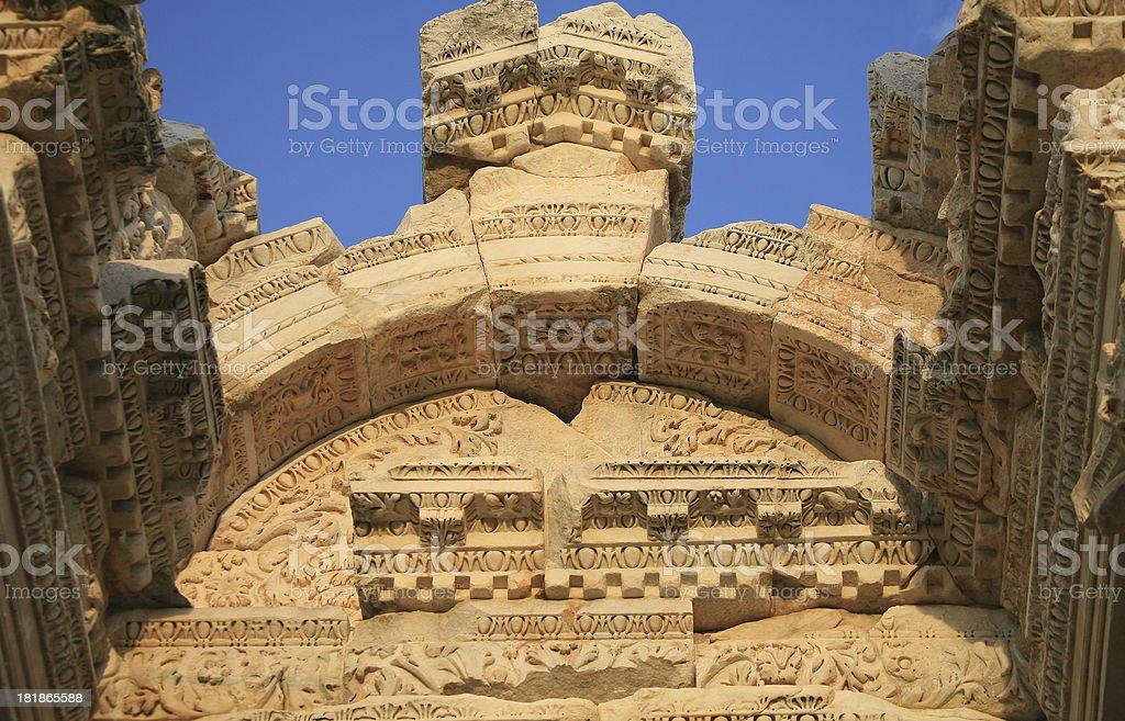 Fine detail on theTetrapylon(huge gate)at Aphrodisias royalty-free stock photo