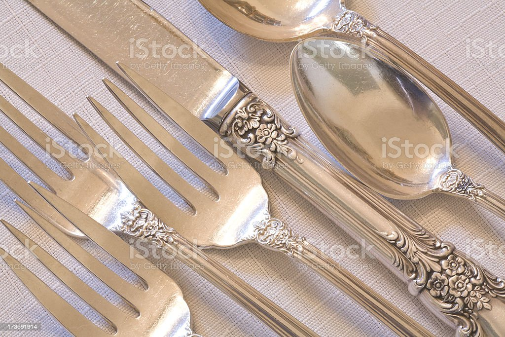 fine dining elegant antique silverware place setting stock photo