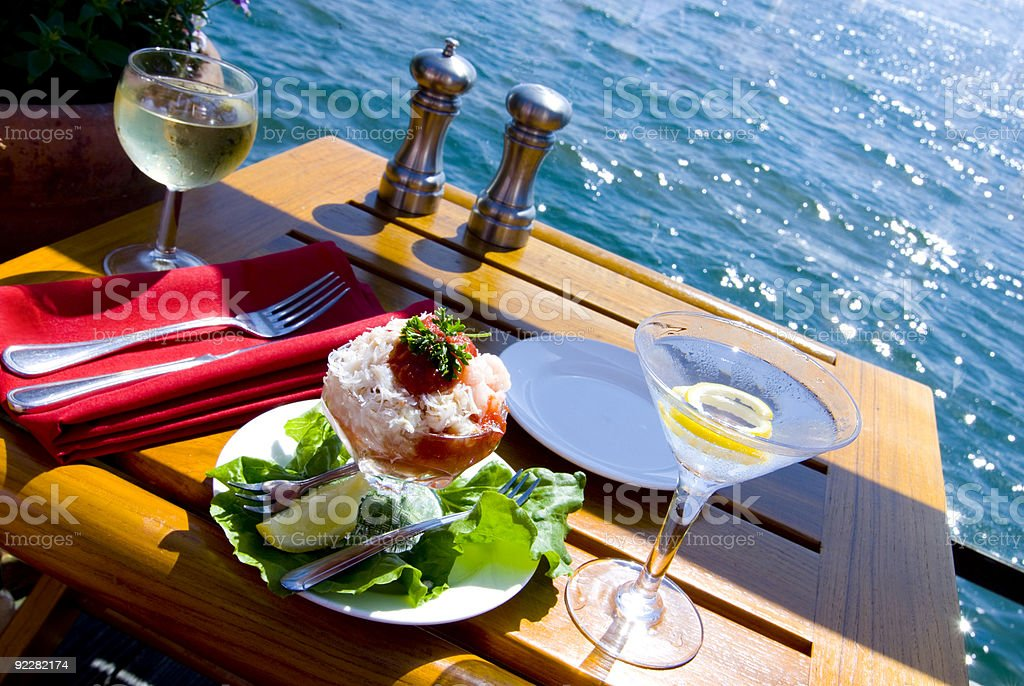 Fine Dining on the Water stock photo