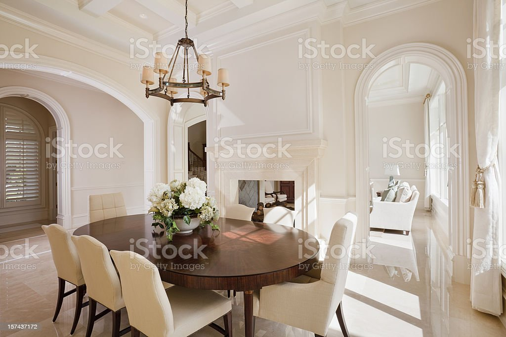 Beautiful formal dining room in an estate home.