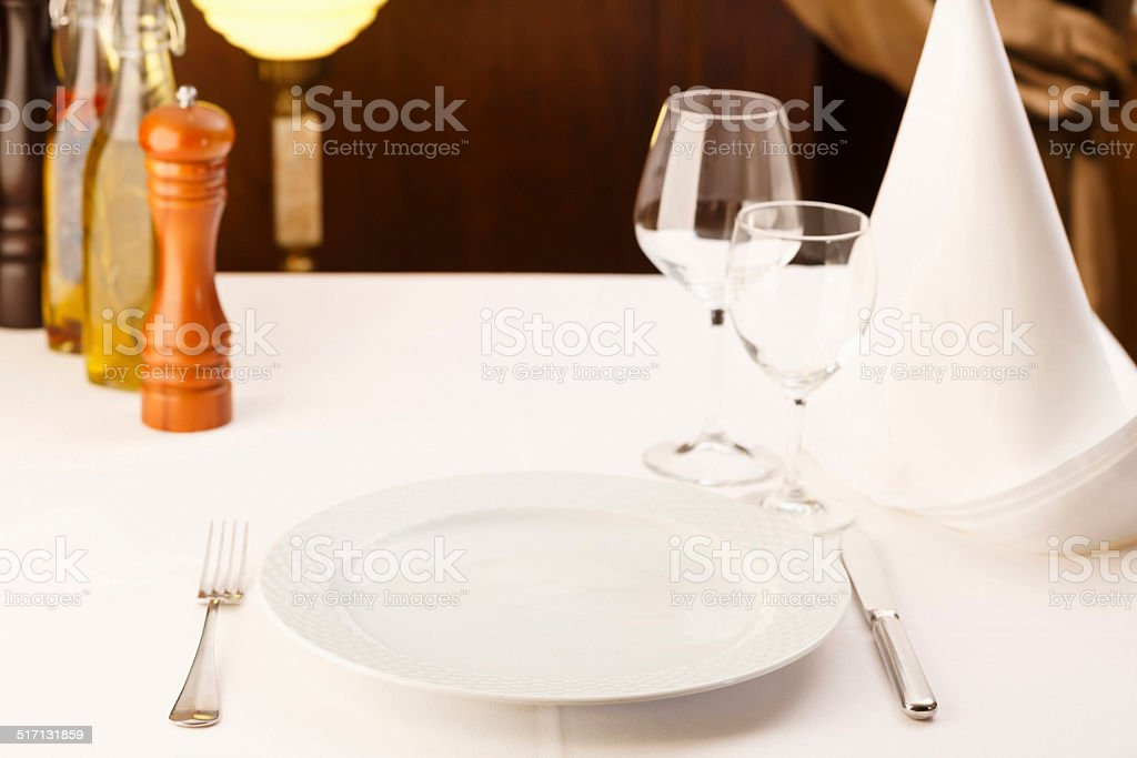 Fine dining restaurant stock photo