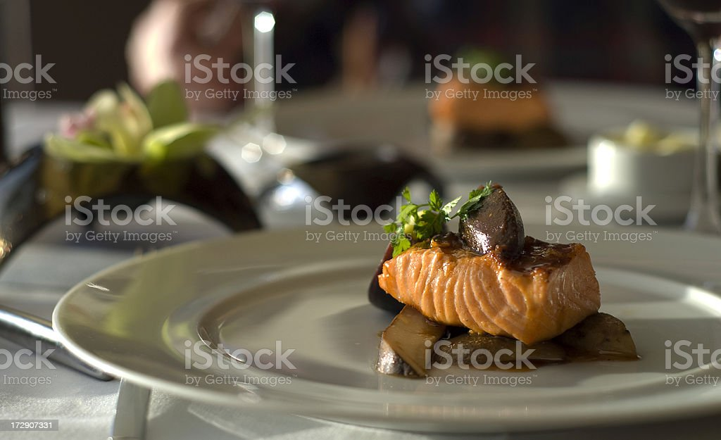 Fine Dining Salmon Restaurant Dinner for Two royalty-free stock photo