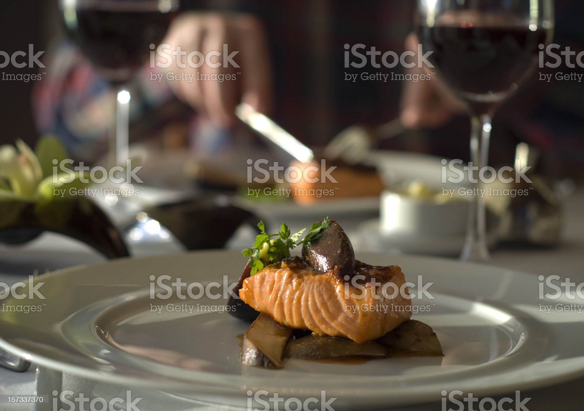 Fine Dining Table for Two, Restaurant Dinner; Salmon Fish Seafood royalty-free stock photo