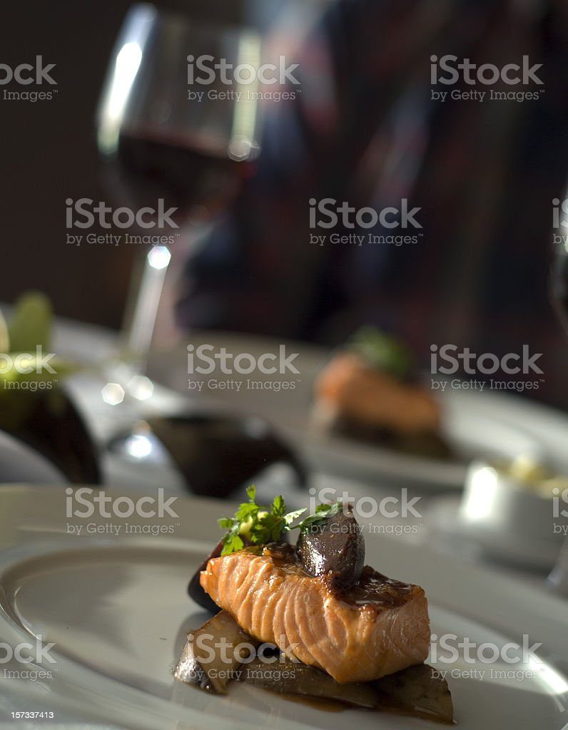 Fine Dining Table for Two, Restaurant Dinner; Salmon Fish Seafood stock photo