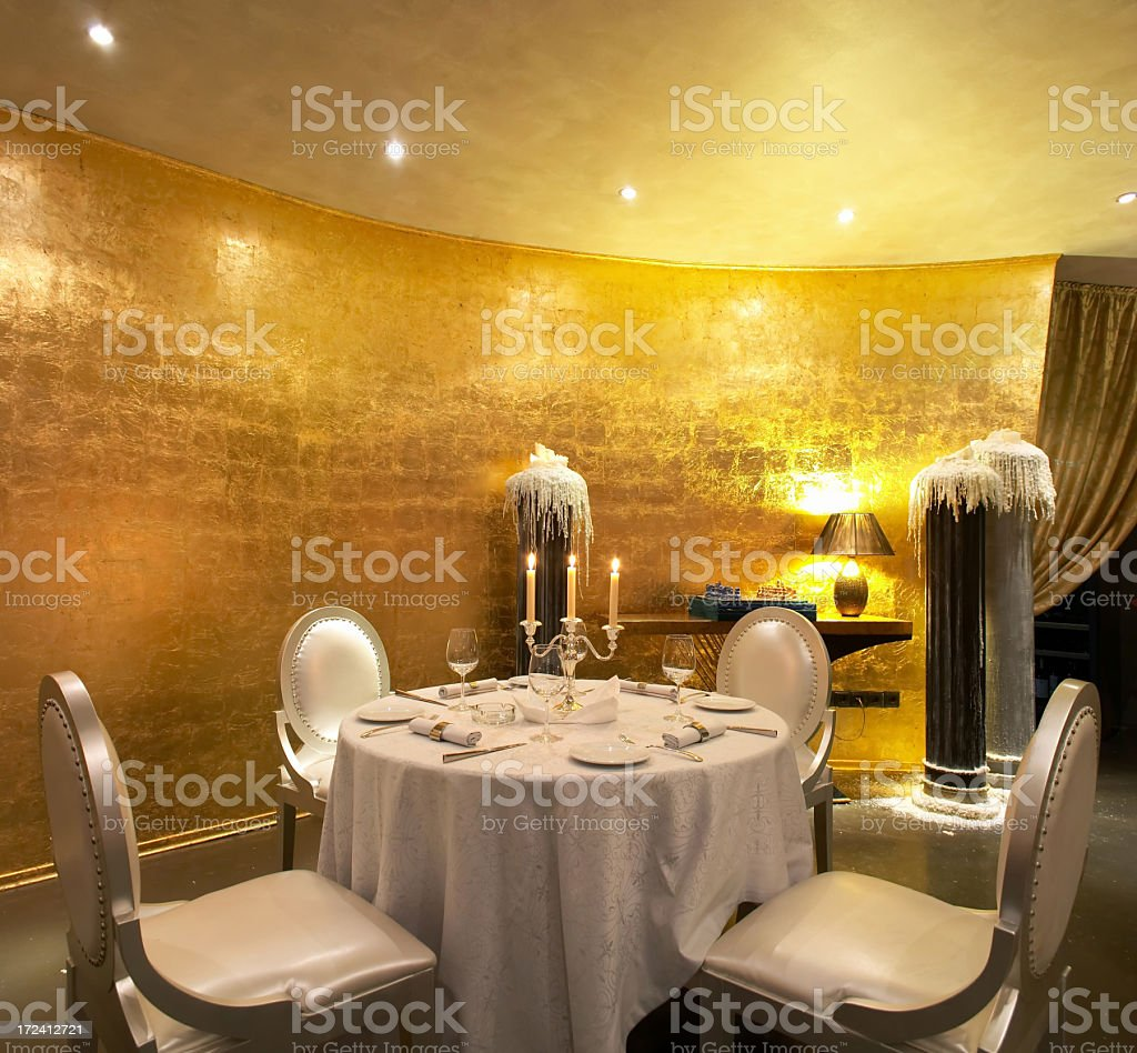 Fine dining table setting for four stock photo
