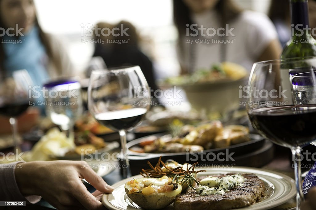 Fine dining with food and wine stock photo