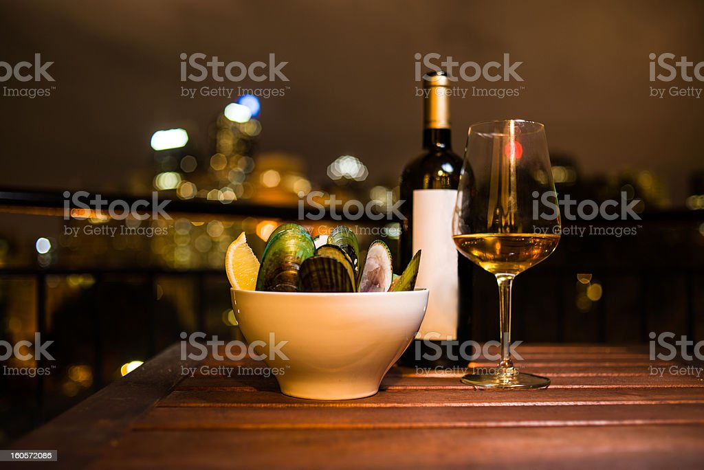 Fine Dinning Over the City stock photo