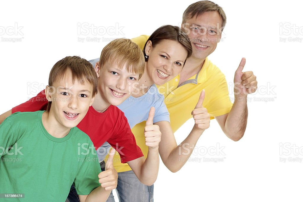 Fine family in bright T-shirts royalty-free stock photo