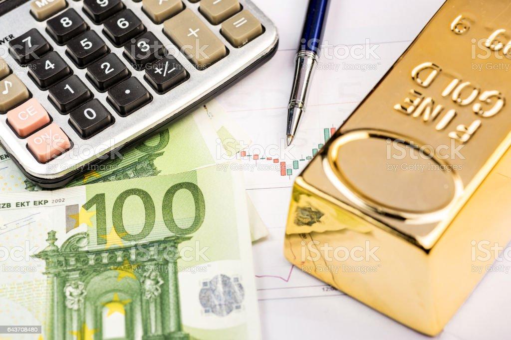 Fine gold bars and Euro stock photo