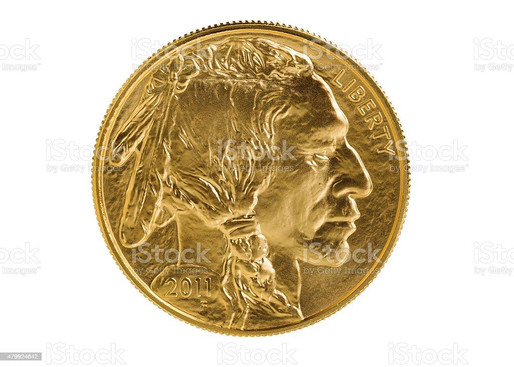 Fine gold Buffalo Coin on white background stock photo