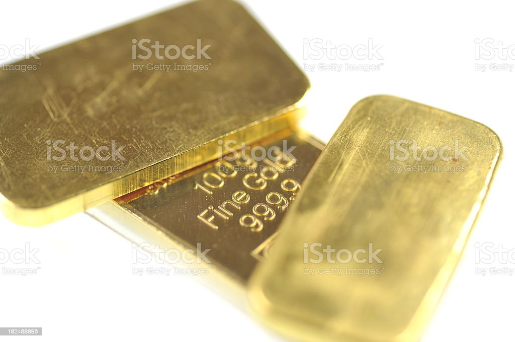 fine gold - Goldbarren on white stock photo