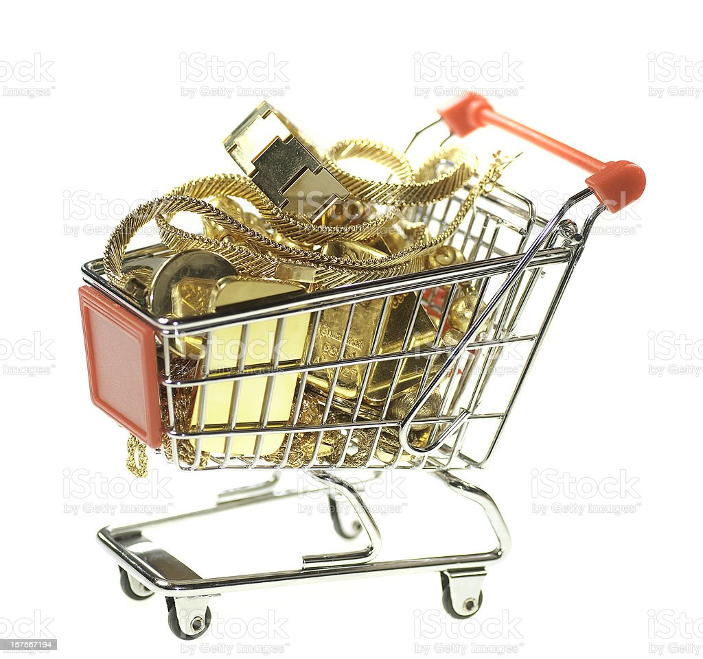 fine gold in shopping cart royalty-free stock photo