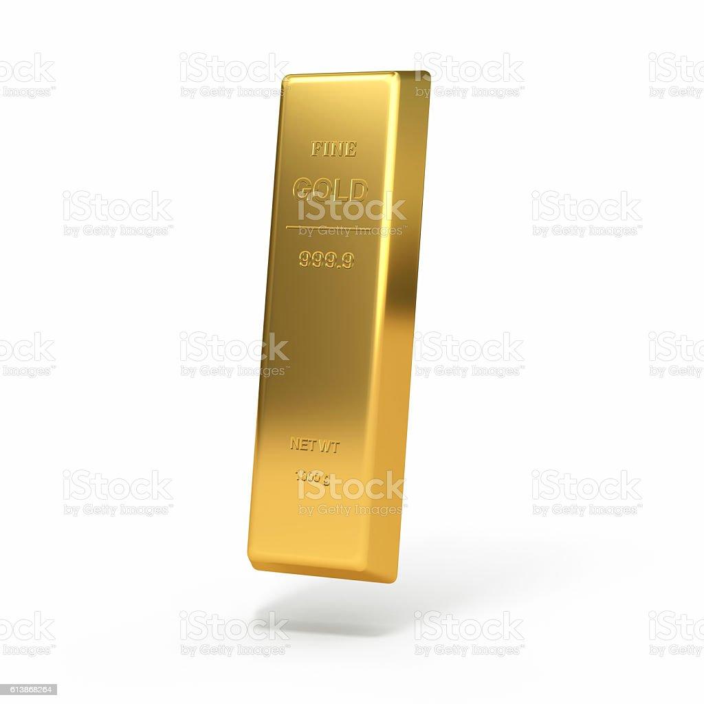 Fine gold ingot isolated on white background stock photo