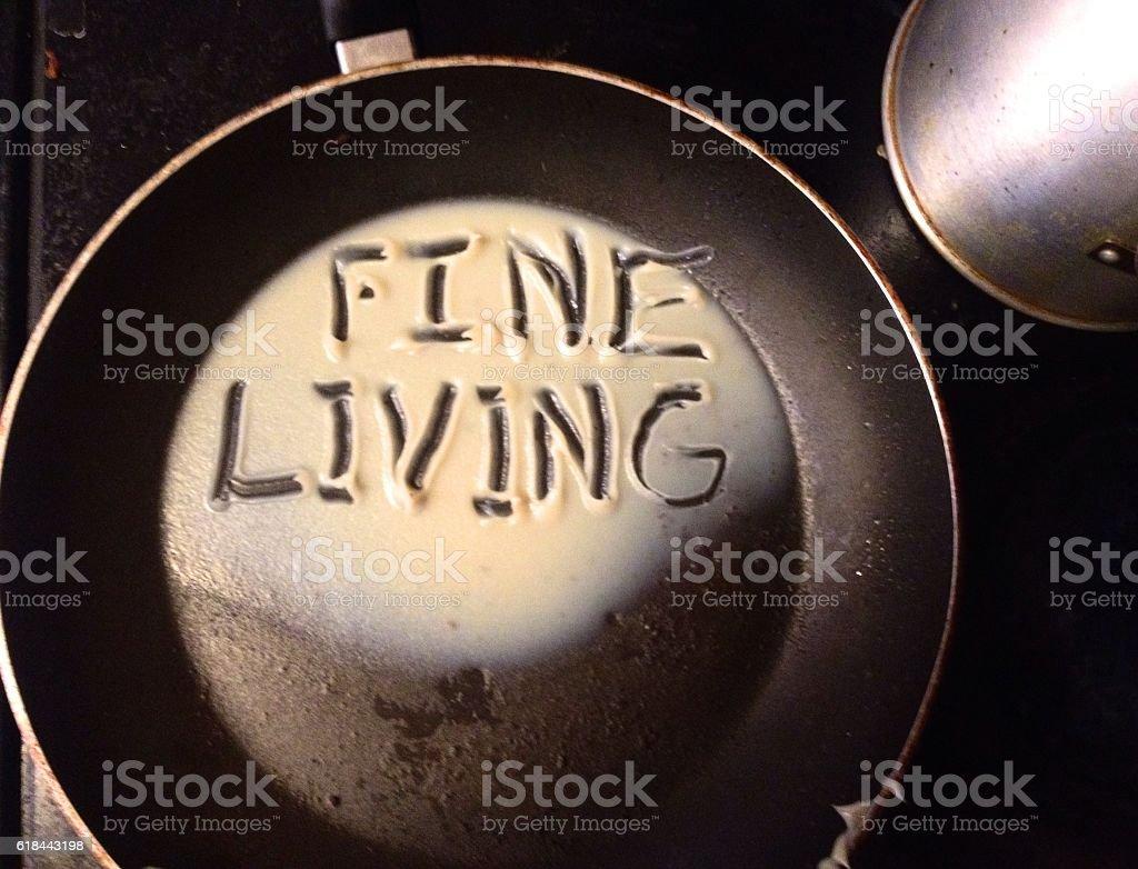 Fine Living, bacon grease stock photo