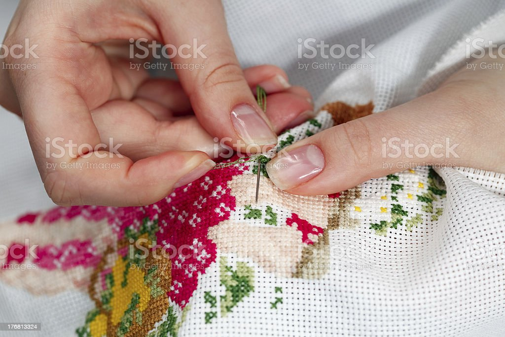 Fine needlework royalty-free stock photo