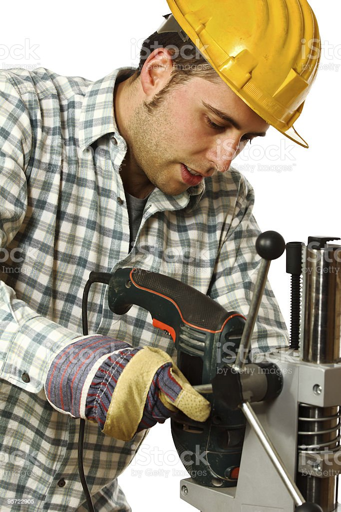 fine portrait of craftsman at work stock photo
