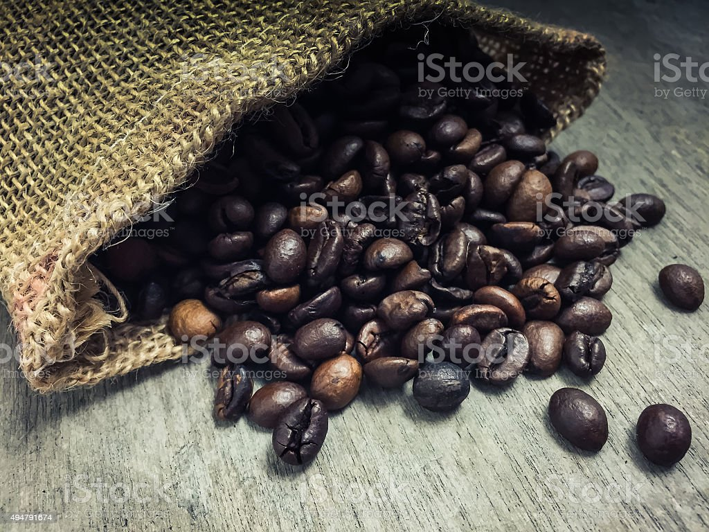 Fine roasted coffee beans concept stock photo