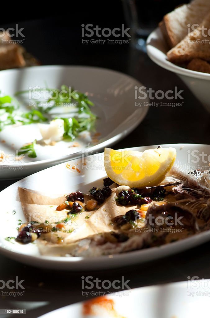 Fine scottish seafood in situ during dinner stock photo