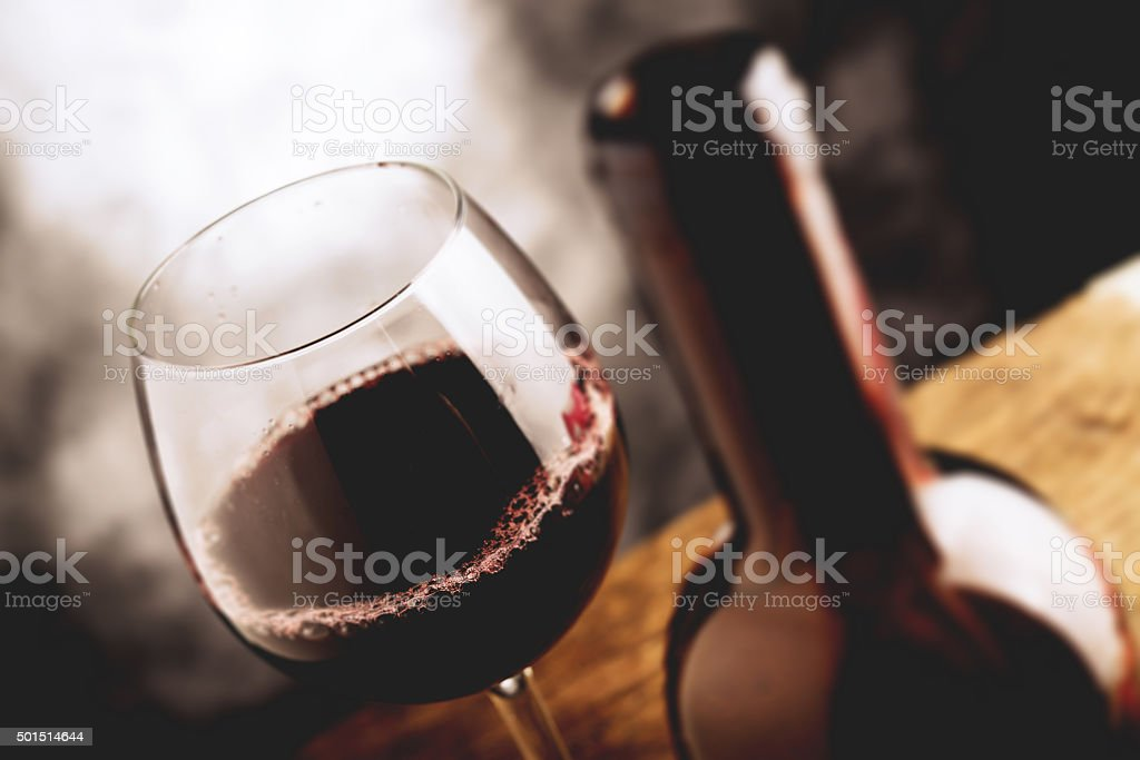 fine wine - tilt shift selective focus effect photo stock photo