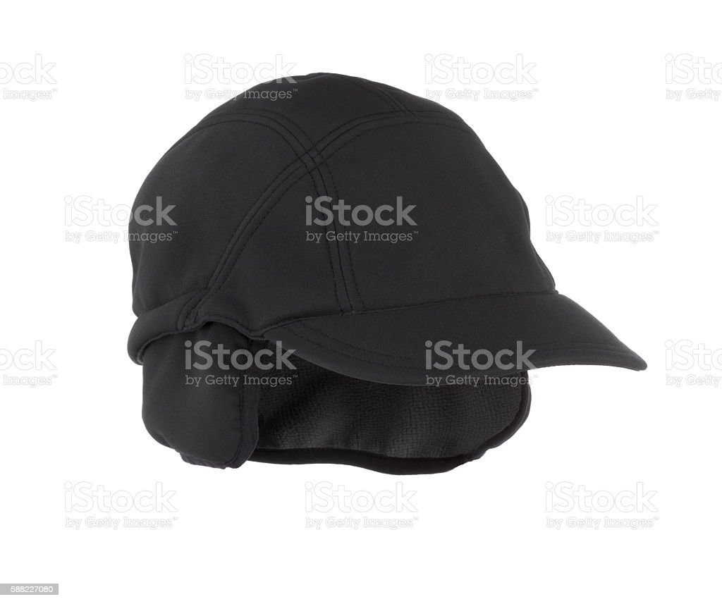 Fine wool black baseball style cap stock photo
