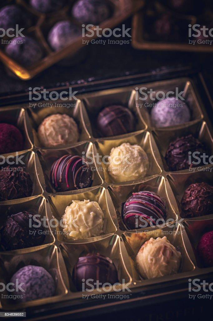 Finest Chocolate Pralines stock photo