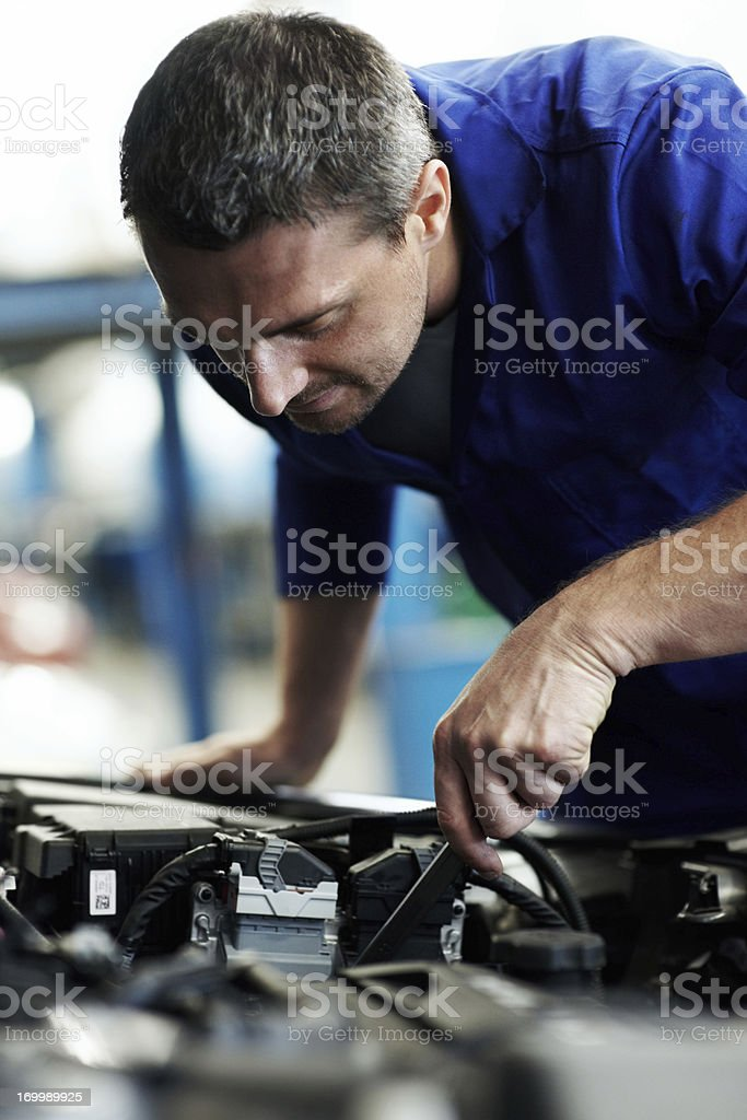 Fine-tuning with a spanner royalty-free stock photo