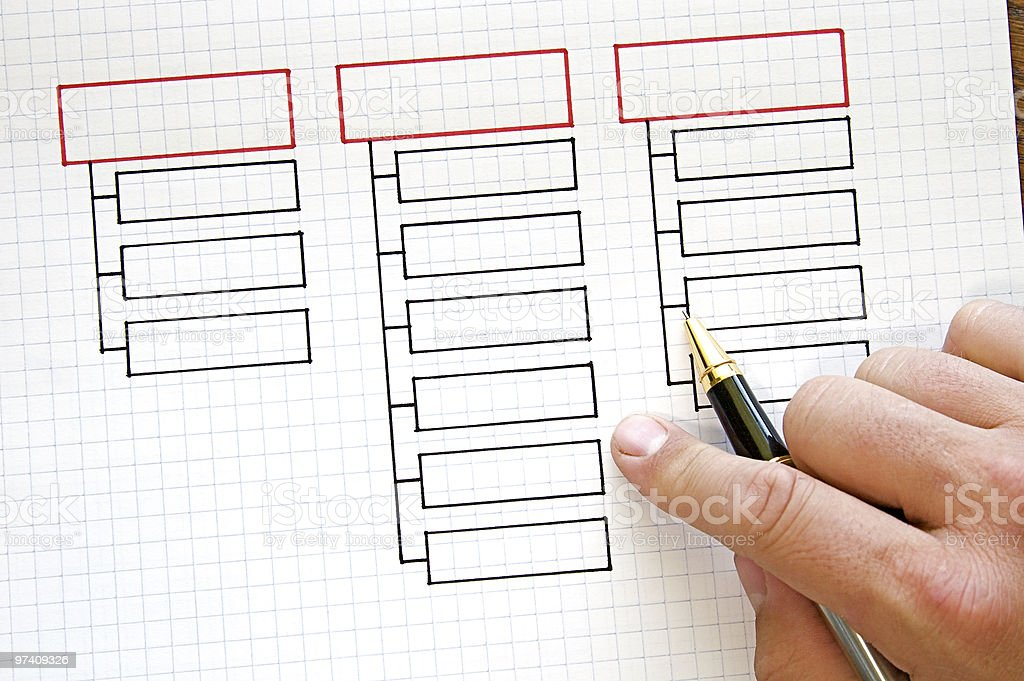 Finger and pen pointing at black business charts in a paper stock photo
