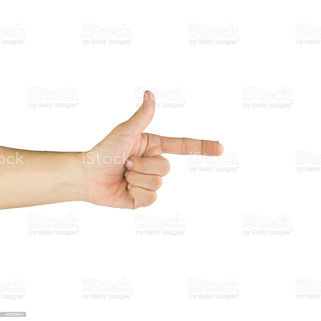 Finger and plaster isolated on white stock photo