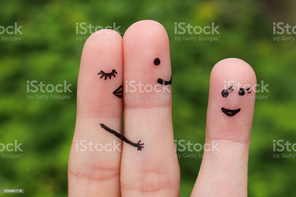 Finger art of couple. Concept is not shared love. stock photo