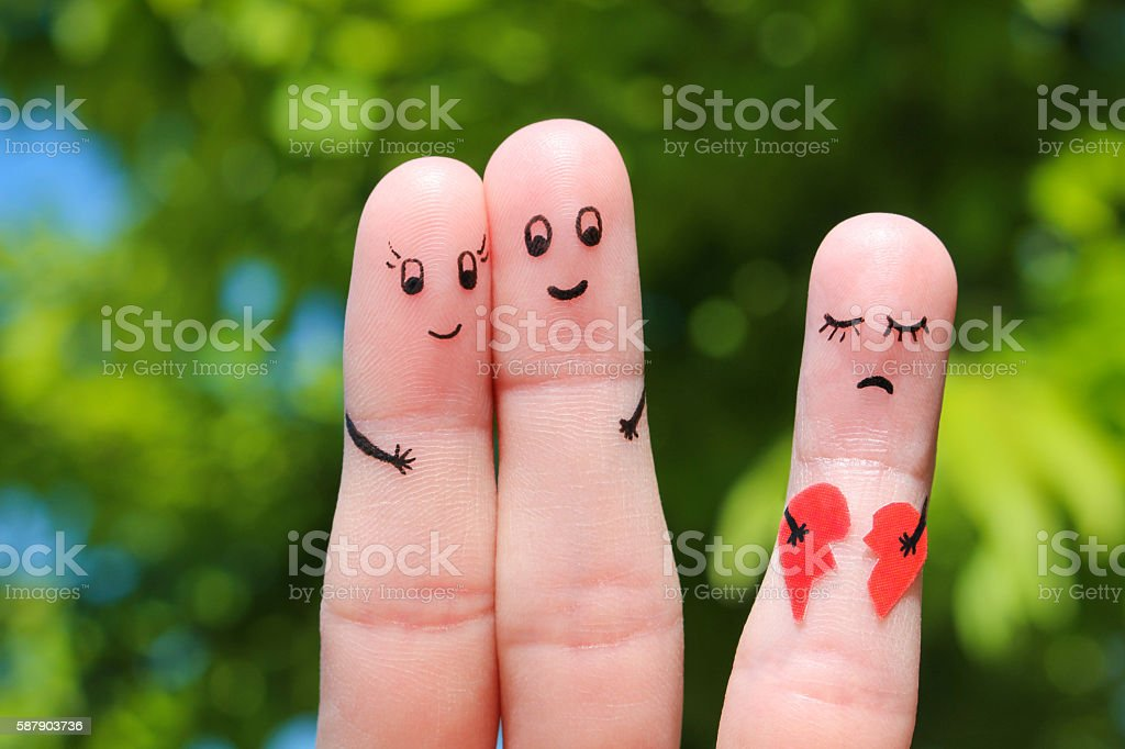 Finger art of Happy couple hugging stock photo