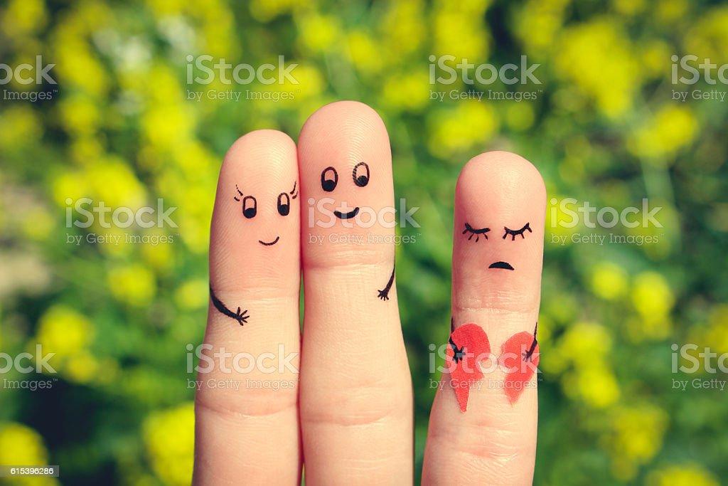 Finger art of Happy couple hugging. stock photo