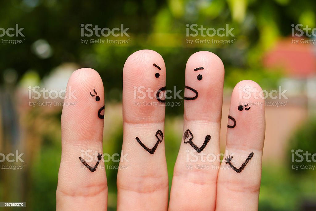 Finger art of people during quarrel. stock photo