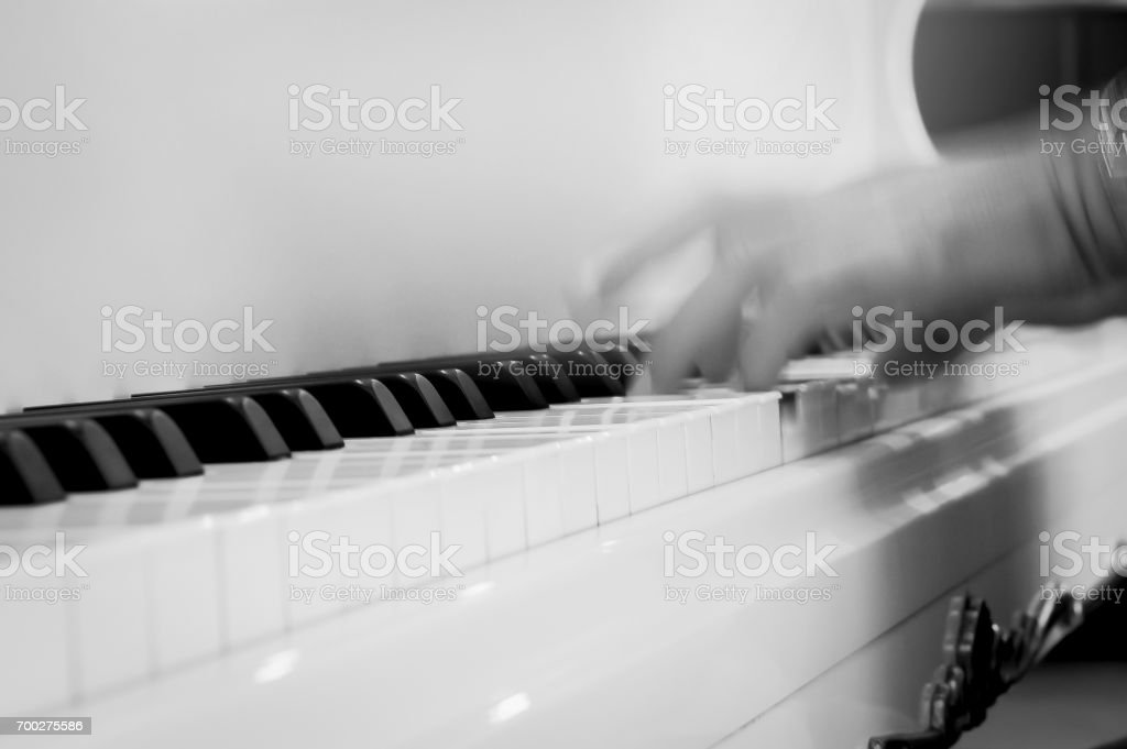 Finger blur of a pianist of a pianist stock photo