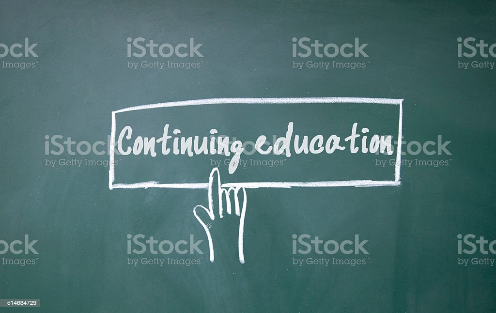 finger click continuing education symbol stock photo