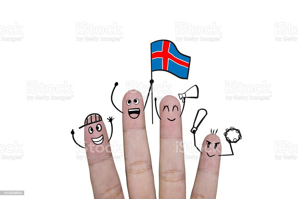 Finger concept cheer up with holds up flag Iceland stock photo
