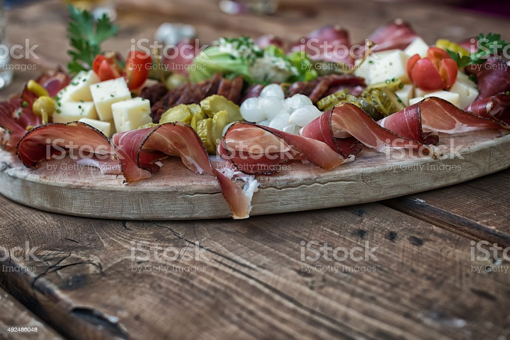 finger food on a hiking tour in the european alps stock photo