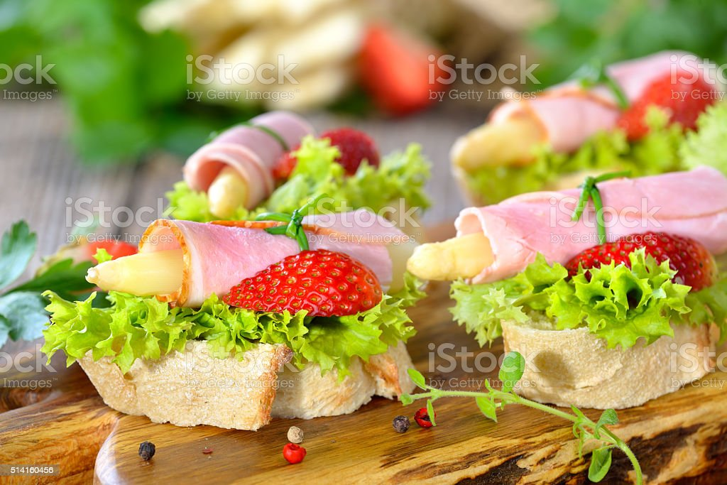 Finger food with asparagus stock photo