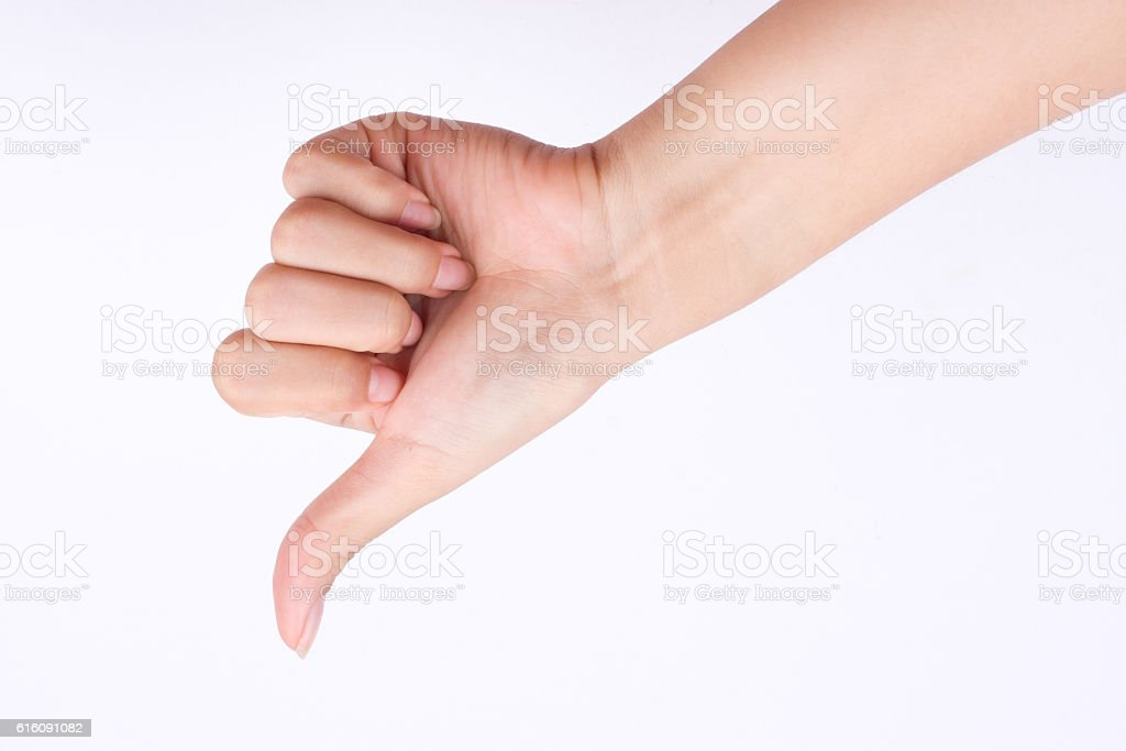 finger hand  girl symbols hand showing thumbs down  bad dislike stock photo