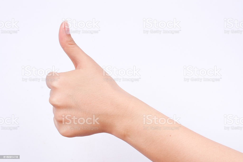 finger hand girl symbols like best excellent good button stock photo